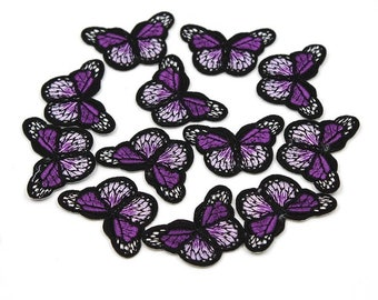 Purple mini butterfly patch x2
