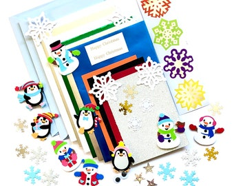 Christmas card making kit, snowman and snowflake theme