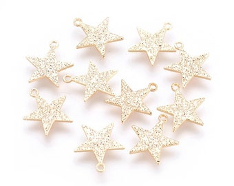 Star charms x2, 18k gold plated