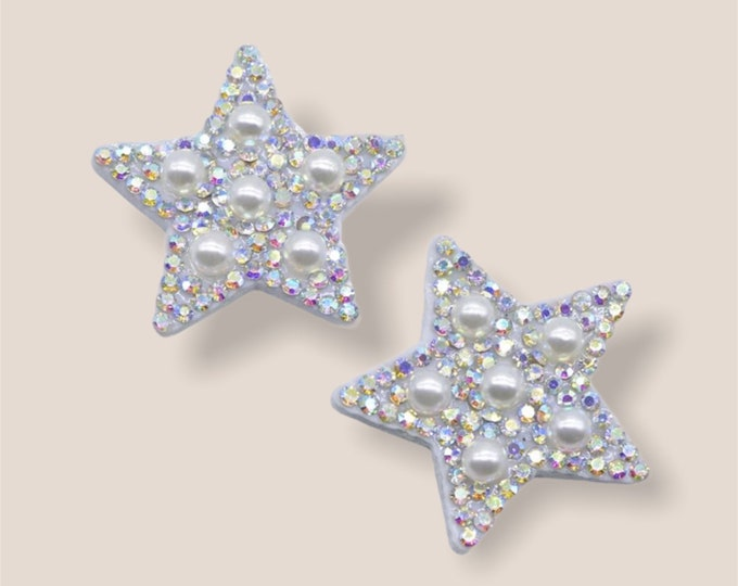 Featured listing image: Pearl and rhinestone patch x 2, sew on patches, 35mm