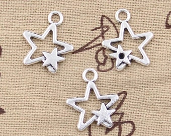 Silver star charms x 2