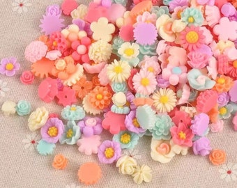 Flower cabochons mixed size and colour set of 50