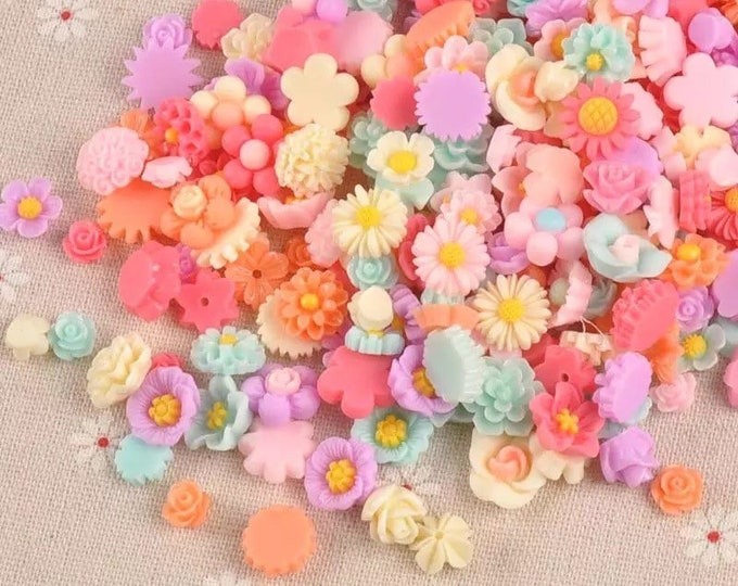 Featured listing image: Flower cabochons mixed size and colour set of 50