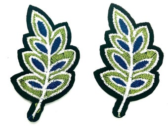 Leaf iron on embroidered patch