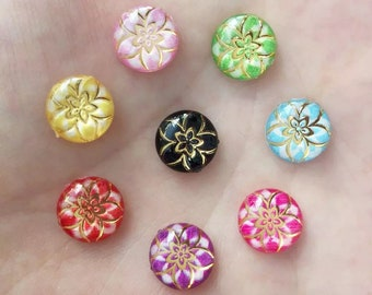 Round floral cabochon, 10mm mix colour  and gold