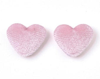 Fabric covered heart embellishments, pink 16mm