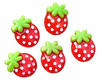 Strawberry embellishments, set of 12