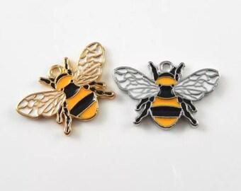 Bee enamel charm