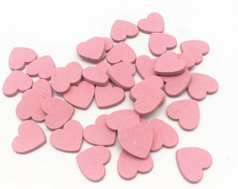 Pink wooden heart embellishments set of 20