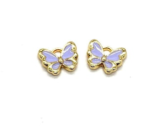 Butterfly enamel charms x 2, lilac