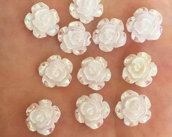 White rose flower cabochon, 12mm