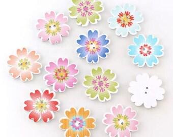 Wooden flower buttons, pastel mix