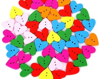 Wooden heart buttons, 19mm mixed colour set of 12