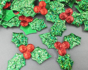 Holly fabric embellishments, set of 20, craft supplies, fabric appliqué, Christmas embellishments