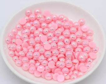 Pearl effect half round cabochons, 8mm pink