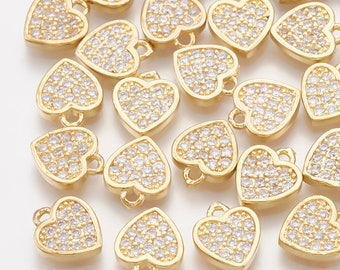 Cubic zirconia heart charm x 2, 18k gold plated