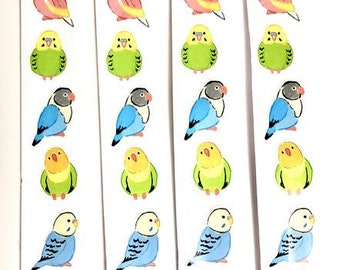 Colourful Birds Stickers, 28 birds,