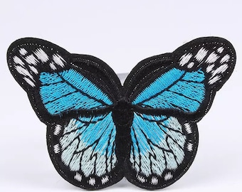 Blue butterfly embroidered patch 5 x 7cm