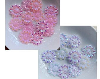 Pink and white flower cabochon mix, 19mm