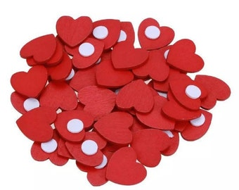 Red wooden hearts, self adhesive