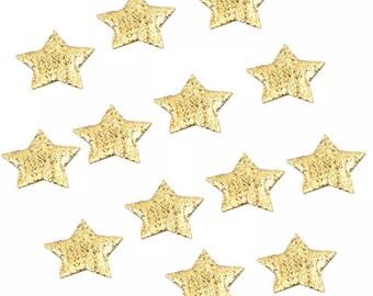 Gold padded fabric stars, 2cm