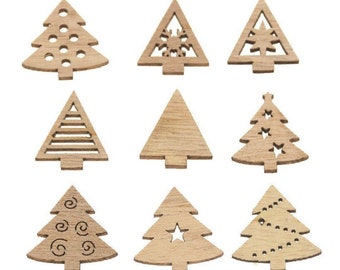 Christmas tree wooden shapes, 3cm natural