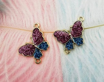 Pink and blue Butterfly enamel connector charms x 2