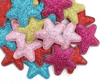 Star fabric glitter appliqués, padded fabric 24mm stars