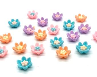 Flower cabochons, Pastel mix, set of 20