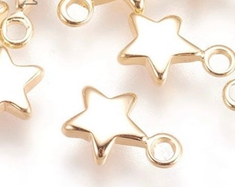 Mini star charm x 2, 18k gold plated