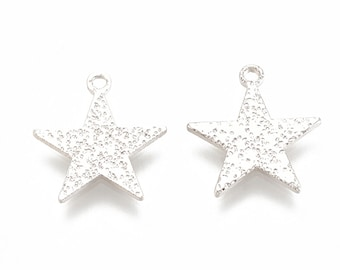 silver star charms x 2, platinum plated