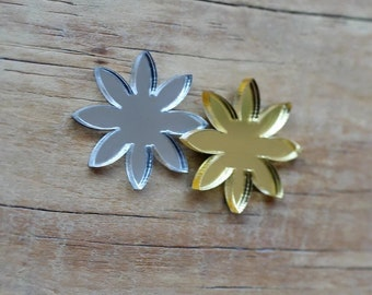 Mirror finish flower embellishments, gold and silver 20mm