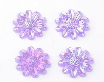 purple flower cabochon, 12mm