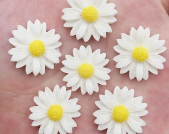 Flower cabochons, 20mm white daisy