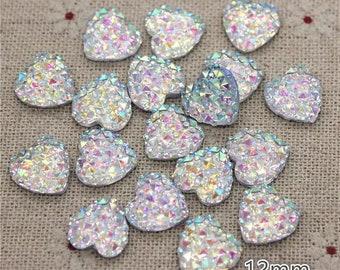 Rhinestone heart embellishments, silver 12mm