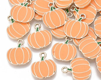 Pumpkin enamel charms, 18mm