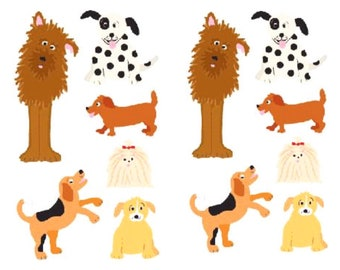 Playful Dogs Stickers, 2 sheets