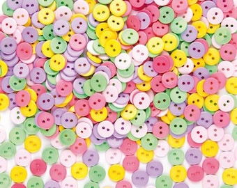 Craft Resin Buttons FE5E 24 x 6mm Wide Tiny Flower Shape MIXED Colour Dolls