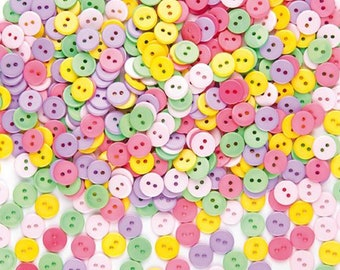 Craft buttons, mixed colours, set of 50