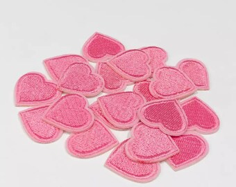 Pink iron on heart patches 2cm