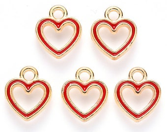 Red heart enamel charms