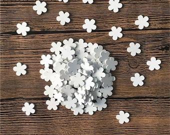 White wooden flower embellishments