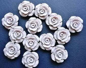 Matt grey flower cabochon, 13mm resin