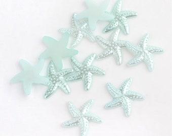Starfish cabochons, blue 18mm