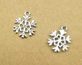 Snowflake charms x2, Silver