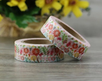 flower washi tape roll, 10m
