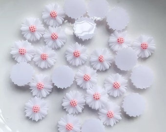 White 9mm flower cabochons