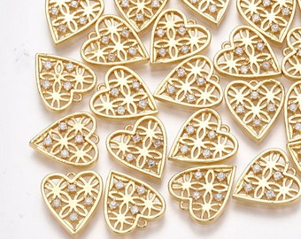 Heart charm, Cubic zirconia x2 , 18k gold plated heart charm, 13mm