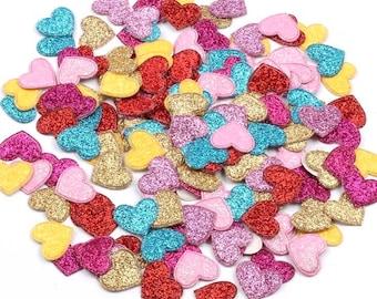 Heart shaped glitter embellishments