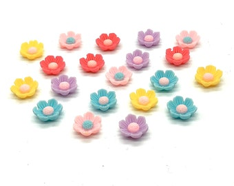 Pastel 3d flower cabochons, set of 15